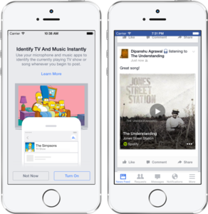 Facebook adds music and TV identification service for posts
